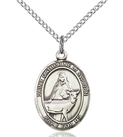 "St. Catherine of Sweden Sterling Silver on 18"" Chain"