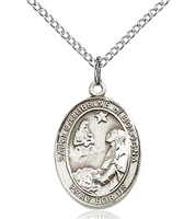 "St. Catherine of Bologna Sterling Silver on 18"" Chain"