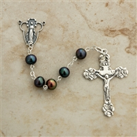 6mm black Pearl sterling silver beaded rosary