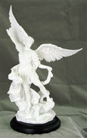 "St Michael the Archangel- Hand- 10"" White Inch Statue"