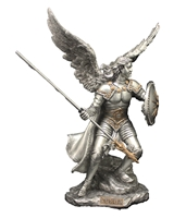 "St. Raphael the Archangel With Shield - 9"" Pewter"