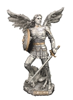 "St Michael the Archangel, Defender In Battle 9"" Pewter Statue"