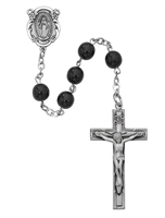 6MM Black GlassSterling Silver Rosary