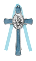 Blue Enameled Pewter Guardian Cross