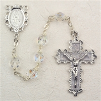 Birthstone rosary- April - Crystal 6MM Rosary