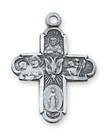 "Four Way Pewter Cross with Holy Spirit on 18"" Chain"