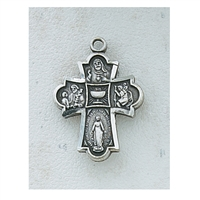 "Four Way Pewter Cross with Chalice and 18"" Chain"