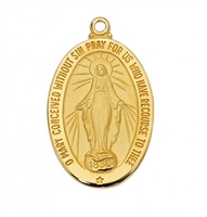 "Miraculous Medal Gold/Sterling on 18"" Chain"