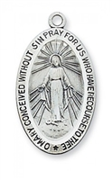 "Miraculous Medal  - Sterling Silver on 24"" Chain"