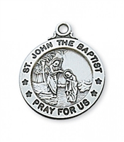 "St. John the Baptist Sterling Silver on 20"" Chain"