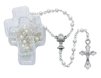 First Communion rosary 4MM White Glass Bead