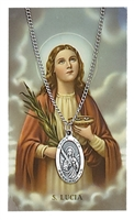St. Lucy Oval Pewter Patron Saint Medal & Prayer Card