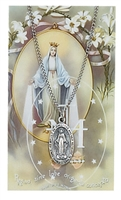 Miraculous Medal Oval Pewter Patron Saint Medal & Prayer Card
