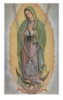 OL Guadalupe Oval Pewter Patron Saint Medal & Prayer Card