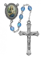 Saint Cecelia rosary with blue 6MM beads, an image of St. Cecelia for a rosary center and a pewter crucifix. Gift boxed.