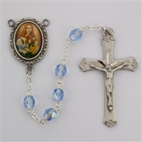 Saint Dymphna rosary with 6mm blue glass beads