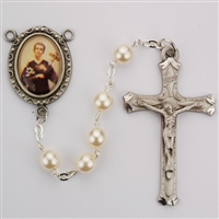Saint Gerard pearl rosary beads, an image of St. Gerard for a rosary center and a pewter crucifix. Gift boxed.