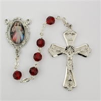 Rhodium plated pewter Divine Mercy Rosary