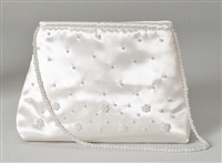 White Beaded First Communion Purse with handle