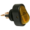 PI-5582C 1 piece Illuminated Amber On-Off Oblong Rocker Swtch 1/2 Inch Mnt Hole 1/4 Inch Blade 12V 25 Amp