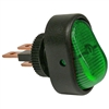PI-5583C 1 piece Illuminated Green On-Off Oblong Rocker Swtch 1/2 Inch Mnt Hole 1/4 Inch Blade 12V 25 Amp