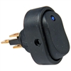 PI-5585C 1 piece Illumtd Blue LED On-Off Oblong Rocker Switch 1/2 Inch Mnt Hole 1/4 Inch Blade 12V 25 Amp