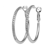 Kelly 14K White Gold Plated Crystal Hoop Earrings, Gold Plated, Hoop, Earrings, Fashion Earrings, Dazzling Crystals