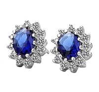 Classic Luxury Zircon Crystal Earrings, Royal Blue, Stud Earrings, Classic Style Earrings, 14K White Gold Plated