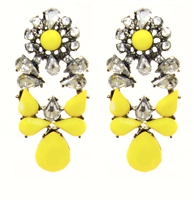 Yellow Twinkle Statement Earrings With Shiny Stones, Fashion Earrings, Yellow Earrings, Earrings With Rhinestones