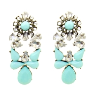 Turquoise Twinkle Statement Earrings With Shiny Stones, Fashion Earrings, Turquoise Earrings, Earrings With Rhinestones