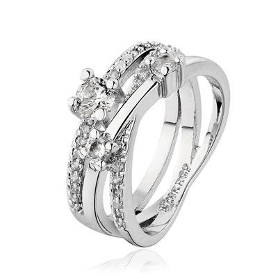 Multi-Layered 18K White Gold Plated Ring With Rhinestones, Fashion Ring, Ring with Rhinestones, Crystal Ring