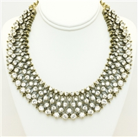 Fashion Statement Necklace, Gold plated fashion statement necklace,  Shiny Rhinestons Necklace