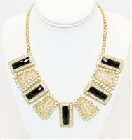 Black And Gold Statement Necklace, Fashion Necklace, Statement Necklace, Fancy Necklace, Necklace With Crystals
