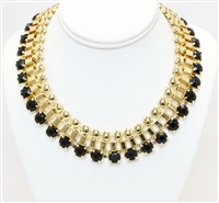 Black And Gold Chunky Fashion Necklace, Fashion Necklace, Black And Gold Necklace With Stones, Statement Necklace