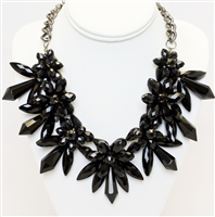 Drama Black Necklace, Statement Necklace, Fashion Necklace, Modern Floral Necklace, Crystal Necklace