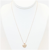 Gold Heart Pendant With Stones Necklace, Fashion Necklace, Heart Necklace, Gold Plated Necklace With Heart Charm