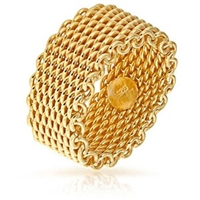 Yellow Gold Plated Mesh Ring, Mesh Ring, Fashion Mesh Ring, Gold Plated Mesh Ring, 14K Gold Mesh Ring
