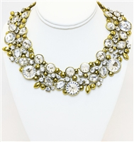 Yellow Gold Plated Necklace With Clear Stones, Statement Gold Necklace With Crystals, Fashion Necklace