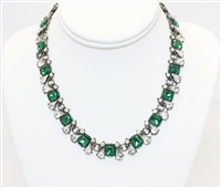 Statement Crystal Necklace, Fashion Necklace, Necklace With Crystal Stones, Two Tone Necklace
