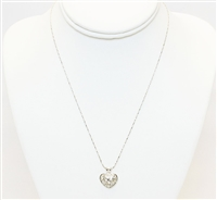 Silver Heart Pendant With Stones Necklace, 14K White Gold Plated Necklace With Heart Pendant, Bridal Jewelry