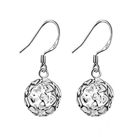 Sterling Silver Heart Shaped Ball Dangle Earrings, Heart Shaped Ball Dangle Earrings, Hear Dangle Earrings, Fashion Earrings