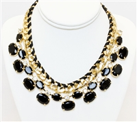 Triple Gold Necklace With Black Stones, Fashion Black And Gold Necklace, Statement Gold Necklace With Black Stones