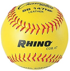 "Champion RHINO 12"" Leather Fastpitch Softballs (Poly Core) - Dozen"