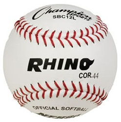 "Champion RHINO 12"" White Leather Fastpitch Softballs - Dozen"