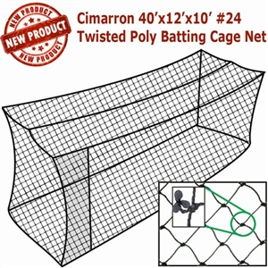 Cimarron 40x12x10 #24 Twisted Poly Batting Cage Net