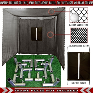 Cimarron 10x10x10 Masters Golf Net with Frame Kit