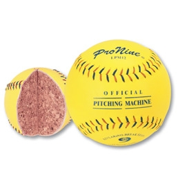 Pro Nine LPM12 Leather Pitching Machine Softballs - Dozen