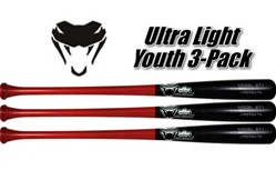 Viper Bat Ultra Light Youth Birch Wood Bats - 3 Pack
