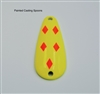 Painted Casting Fishing Spoon - Yellow with Orange Diamonds