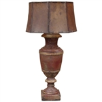 Wood Lamp w/ Rawhide Shade